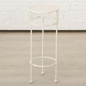 Hoher Beistelltisch weiß Metall Telefontisch Pflanzentisch Blumenständer Tisch(Kleiner Tisch: 20 x 50 cm)