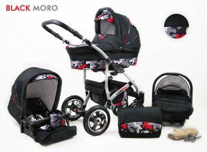 Kinderwagen Largo,3 in 1 -Set Wanne Buggy Babyschale Autositz mit Zubehör Black Moro
