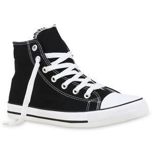 Mytrendshoe Herren High Sneakers Stoffschuhe Sportschuhe Kult Schnürer 811382, Farbe: Schwarz, Größe: 43