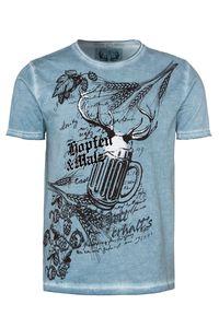 MarJo Trachtenshirt kurzarm hellblau 'Hopfen & Malz' 007626 Größe: XL