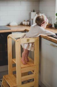 MeowBaby Lernturm für Kinder Natur Küchenhelfer - Kinder Schemel