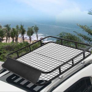 COSTWAY Dachgepäckträger Universal Dachkorb aus Stahl, Auto Gepäckträger bis 75kg belastbar, Dachträger Dach schwarz Gepäckkorb 122x102x15cm
