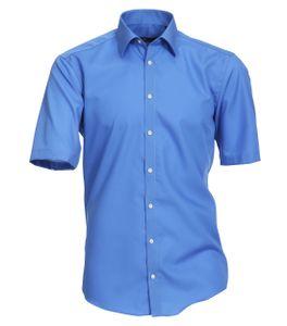 Größe 41 Venti Hemd Blau Uni Kurzarm Slim Fit Tailliert Kentkragen 100% Baumwolle Popeline Bügelfrei
