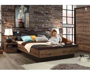 JCKL181-N09T Jacky Schlammeiche Nb. / Schwarz Bettanlage Doppelbett Bett inkl. Fussbank ohne Nachtkonsolen ca. 180 x 200 cm