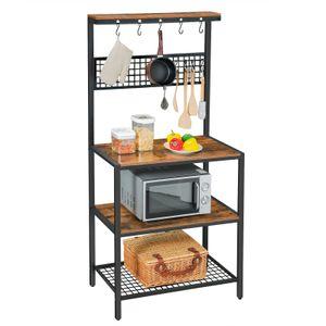 VASAGLE Küchenregal Holzoptik 10 Haken 84 x 40 x 170 cm Gitterablage für die Küche Vintage dunkelbraun KKS17BX