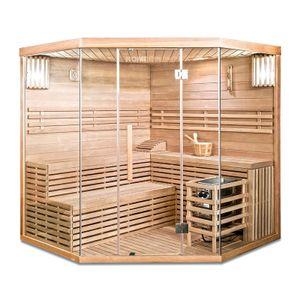 HOME DELUXE - Traditionelle Sauna SKYLINE XL BIG Eckkabine Ecksauna Saunakabine inkl. Saunaofen