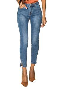 Damen Skinny Denim Jeans High Waist Stretch Hose Ankle Cropped, Farben:Blau, Größe:XL