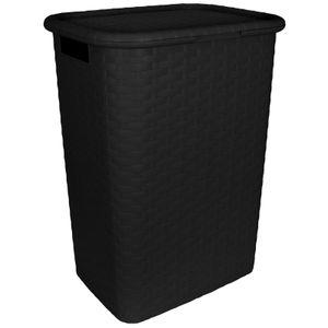 Wäschekorb mit Deckel Rattan-Optik 60L schwarz Wäschetruhe Wäschebox Wäschesammler Wäschekiste