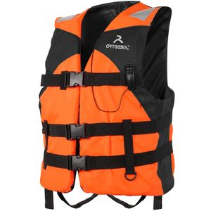 arteesol Schwimmweste Erwachsene Rettungsweste mit Pfeifen Leuchtendes Band, für Kajak Kanu Schwimmen, Fluorescein Orange, Größe L