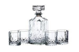 Kitchen Craft Bar Craft Kristallglas Whisky Dekanter und # Zahnputzbecher Geschenk-Set, transparent, 5-teilig