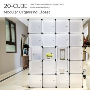 20 Kubus Kunststoff Kleiderschrank Garderobenschrank, Steckregal Kombischrank,Schrank Regalsystem mit 2 Kleiderstange - Weiß - PONCTUEL ESCARGOT