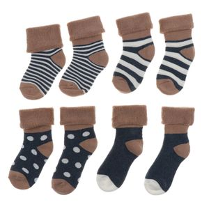 4 Paare Baumwollkinder Socken 6-12month blau Größe 6-12Monat Farbe Blau