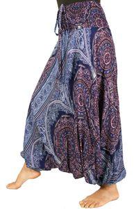 Afghani Hose, Overall, Jumpsuit, Haremshose, Pluderhose, Pumphose, Aladinhose - Marine/pink, Damen, Blau, Viskose, Pluderhosen & Aladinhosen