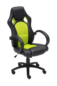 Bürostuhl CP588, Schreibtischstuhl Drehstuhl Bürosessel Racing-Chair Gaming-Chair, Kunstleder  grün