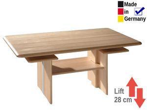 Couchtisch  120x70x55 cm höhenverstellbar Buche massiv Tisch