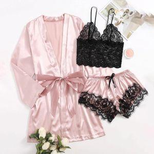 Satin Silk Pyjamas Frauen Nachthemd Dessous Roben Unterwäsche Nachtwäsche Sexy LKM201103383