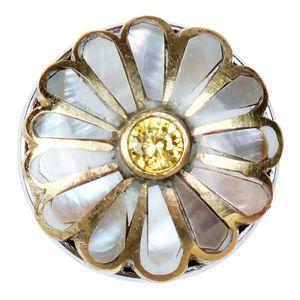 Noosa Chunk Daisy Shell Brass weiß gold