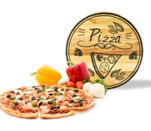 Pizzateller mit Pizza-Motiv ø30cm drehbar Holzteller Drehteller Käseteller Speiseteller