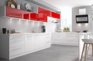 Küchenblock Küchenzeile 13-tlg. weiß / rosenrot & weiß Hochglanz 480cm Neu