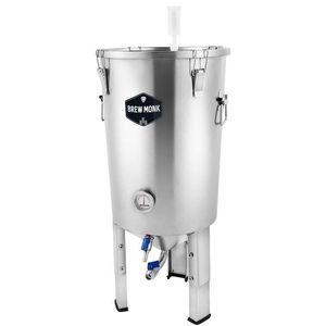 Brew Monk™ Edelstahl-Gärbehälter 30 l für Bier oder Wein zur Vergärung im konischen Gärbehälter * Heimbrauerei Hobbybrauer * Edelstahltank mit Auslauf - stapelbar -Hefeernten
