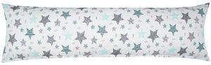Baumwoll Renforcé Seitenschläferkissen Bezug 40x145cm - Sterne mit kreisen und Punkten in Weiß - 100% Baumwolle Stillkissenbezug (KY-560-1)