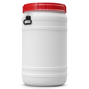110 Liter Weithalsfass Tonne Drehdeckelfass Schraubdeckelfass weiß (110 CT SW)
