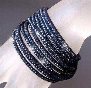 A826* 2-fach WickelArmband Stiefelband LederLook nachtblau Strass blau