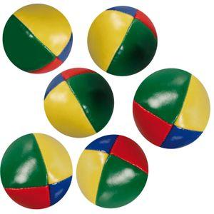 6 Stück Jonglierbälle Ø 60mm für Anfänger geeignet Jonglierball Füllung aus Granulat Wasserabweisend Robustes Kunstleder Jonglier-Set zur Jonglage für Kinder und Erwachsene