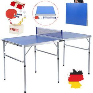 Tischtennisplatte Tischtennistisch Tischtennis Set Tischtennisnetz Tischtennisschläger Bälle Klappbar MDF+Alu 152x76.2x76.3cm Wetterfest