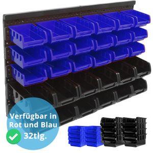 Stapelboxen Wandregal 32tlg Box Sichtlagerkästen Schüttenregal Steckregal, Stapelboxen, Schwarz - Blau