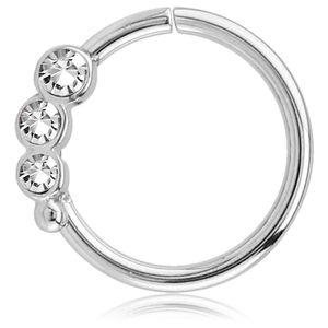viva-adorno Knorpel Piercing Ring Kristall Ohrpiercing Helix Cartilage Tragus Nasenring 316L Chirurgenstahl verschiedene Farben Z489,Ring 3x silber / klar