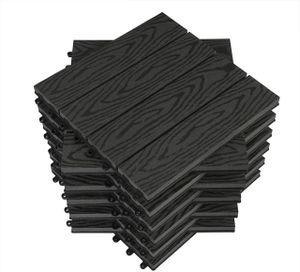 WPC Terrassenfliesen in Holzoptik, Bodenbelag mit Klicksystem, 11 Stück : anthrazit