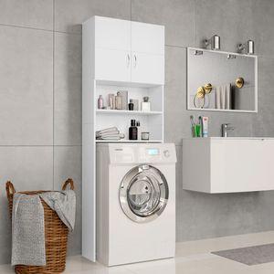 Waschmaschinenschrank Weiß 64×25,5×190 cm Spanplatte