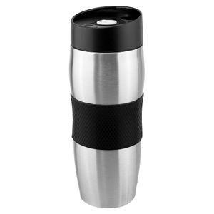 WELLGRO Thermobecher 380 ml - Edelstahl - BPA-frei - Isolierbecher - Farbe wählbar, Farbe:Schwarz