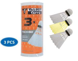 Talbot-Torro Badmintonball Tech 150, Kunststofffederball, 3er Dose, 2x weiß, 1x gelb