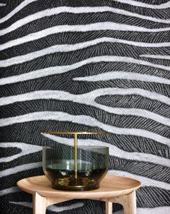 Tapete Naturtapete Schwarz Papier  Grafisch Modern  Zebra Fell  Cohen