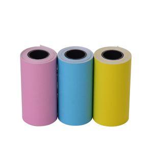 Bedruckbare Farbaufkleber Papierrolle Direktes Thermopapier mit selbstklebendem 57 * 30mm (2.17 * 1.18in) für PeriPage A6 Pocket Thermodrucker für PAPERANG P1 / P2 Mini-Fotodrucker, 3 Rollen