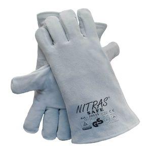 NITRAS Schweisserhandschuhe Safe 20535 Spaltleder-Schutzhandschuhe mit hohem Tragekomfort -  nach DIN EN 388 / 407 / 420 / 12477 Größe:9