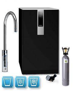 Einbau-Tafelwasseranlage BLACK & WHITE DIAMOND (Option CO2 Eigentumsflasche: 2kg CO2 Flasche / Armatur: C-Auslauf / Farbe: schwarz)