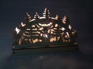 Holz-Schwibbogen 5 LEDs Lichterbogen Weihnachtsdeko Fensterdeko Adventsdeko, Design:Schneemann mit Reh