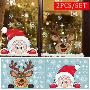 2er Set Weihnachten Fensterbilder Weihnachten Aufkleber Weihnachtssticker Fenstersticker