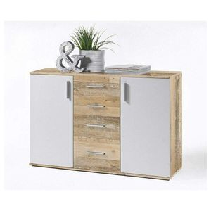 36-105-V0 Bobby Old Style Eiche hell / weiß Kommode Beistellkommode Sideboard ca. 120 cm