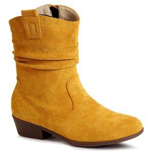 topschuhe24 1751 Damen Velours Stiefeletten Cowboy Stiefel, Farbe:Gelb, Größe:36 EU