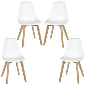 4er Set Design Esszimmerstuhl   weiß Polstersessel Loungesessel Stuhl Skandinavischer Stil