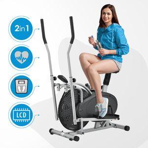 ArtSport 2in1 Crosstrainer & Heimtrainer – Ergometer mit Computer, LCD Display, Sitz und Schwungrad – Ellipsentrainer Fitnessgerät Fitness