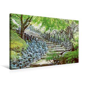 Calvendo  Textil-Leinwand 75 cm x 50 cm quer Wimmel-Buddhas – Unzählige Buddha-Statuen bewachen die Stufen eines Tempels, CALVENDO; 7423807