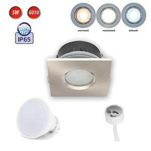 LED Line IP65 Deckenleuchte Einbaurahmen Wasserdicht Einbaustrahler Lampe Spot Einbau Leuchte Eckig Satin aus Aluminium mit Fassung GU10 5W Leuchtmittel Warmweiß