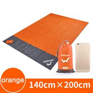 Wasserdichte Stranddecke im Freien tragbare Picknickmatte Camping Ground Mat Matratze,Orange, M (1,4 x 2 m)