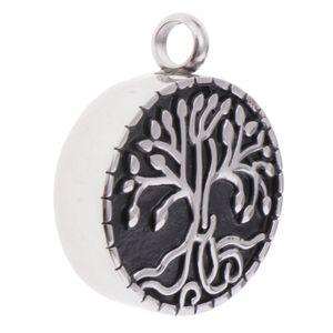 Anhänger Runde Asche Halter Andenken Schmuck Urne Anhänger - Geschenk Baum des Lebens 1 Schwarzes Silber