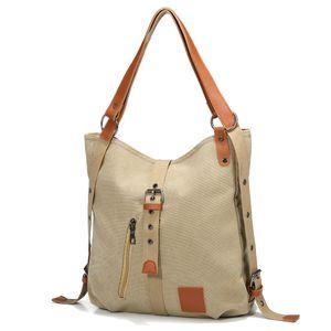 JOSEKO Canvas Tasche, Damen Rucksack Handtasche Vintage Umhängentasche Anti Diebstahl Hobotasche für Alltag Büro Schule Ausflug Einkauf Khaki